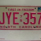 1976 North Carolina NC Passenger YOM License Plate JYE-357 Excellent!