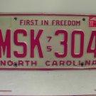 1977 North Carolina NC Passenger YOM License Plate MSK-304 Excellent!