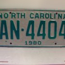 1980 North Carolina NC Truck License Plate AN-4404 VG