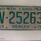 1978 North Carolina NC Dealer License Plate V-25263 VG
