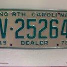 1978 North Carolina NC Dealer License Plate V-25264 VG