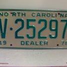 1978 North Carolina NC Dealer License Plate V-25297 Mint
