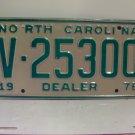 1978 North Carolina NC Dealer License Plate V-25300 Mint