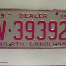 1979 North Carolina NC Dealer License Plate V-39392 VG
