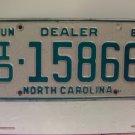 1981 North Carolina NC Independent Dealer License Plate ID-15866 VG-