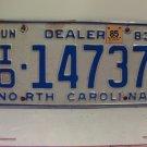 1985 North Carolina NC Independent Dealer License Plate ID-14737 VG