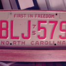 1975 North Carolina NC Passenger License Plate BLJ-579 VG