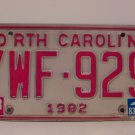 1983 North Carolina NC Passenger YOM License Plate YWF-929