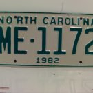 1982 North Carolina YOM License Plate NC ME-1172 Mint Unissued