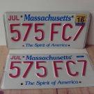 2016 Massachusetts License Plate Tag Pair #575-FC7