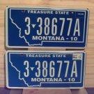 2012 Montana License Plate Tag Pair #3-38677A