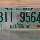 2013 New Hampshire License Plate Tag #3119564