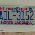 2013 North Carolina NC First in Flight License Plate ADL-3152 EX