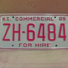 2005 North Carolina Premium License Plate NC ZH-6484 Mint Unissued Key Date