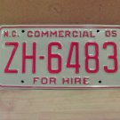 2005 North Carolina Premium License Plate NC ZH-6483 Mint Unissued Key Date