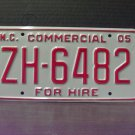 2005 North Carolina Premium License Plate NC ZH-6482 Mint Unissued Key Date
