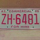 2005 North Carolina Premium License Plate NC ZH-6481 Mint Unissued Key Date