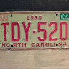 1988 North Carolina License Plate Tag NC TDY-520
