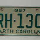 1967 North Carolina NC License Plate RH-130
