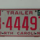 1993 North Carolina NC Trailer License Plate B-44497