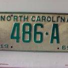 1969 North Carolina NC YOM Taxi License Plate 486-A EX