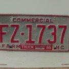 1986 North Carolina Rat Rod Farm Truck YOM License Plate NC FZ-1737