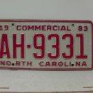 1983 North Carolina Rat Rod Truck YOM License Plate NC AH-9331