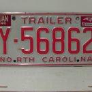 1992 North Carolina NC Trailer License Plate Y-56862