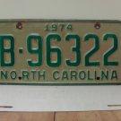 1974 North Carolina NC Trailer License Plate B96322