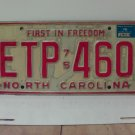 1976 North Carolina NC Passenger License Plate ETP-460 VG-