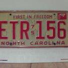 1977 North Carolina NC Passenger License Plate ETR-156 VG-