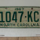 1967 North Carolina NC Patina YOM License Plate 1047-KC VG-