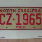 1968 North Carolina NC YOM License Plate CZ-1965 VG