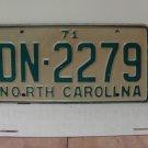 1971 North Carolina YOM License Plate Tag NC DN-2279 VG