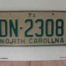1971 North Carolina YOM License Plate Tag NC DN-2308 VG