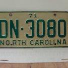 1971 North Carolina YOM License Plate Tag NC DN-3080 VG