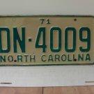 1971 North Carolina YOM License Plate Tag NC DN-4009 VG
