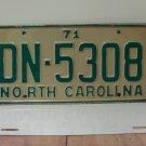 1971 North Carolina YOM License Plate Tag NC DN-5308 VG
