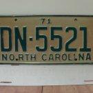 1971 North Carolina YOM License Plate Tag NC DN-5521 VG