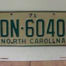 1971 North Carolina YOM License Plate Tag NC DN-6040 VG