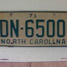 1971 North Carolina YOM License Plate Tag NC DN-6500 VG