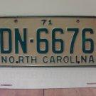 1971 North Carolina YOM License Plate Tag NC DN-6676 VG