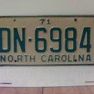 1971 North Carolina YOM License Plate Tag NC DN-6984 VG