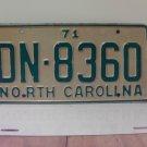 1971 North Carolina YOM License Plate Tag NC DN-8360 VG