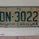 1971 North Carolina NC Passenger License Plate DN-3022 VG-