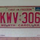 1976 North Carolina NC Passenger YOM License Plate KWV-306 EX