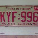 1977 North Carolina NC Passenger YOM License Plate KYF-996 VG+