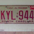 1977 North Carolina NC Passenger YOM License Plate KYL-944 VG