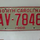 1968 North Carolina NC YOM License Plate AV-7846 EX