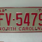 1970 North Carolina NC YOM License Plate FV-5479 EX